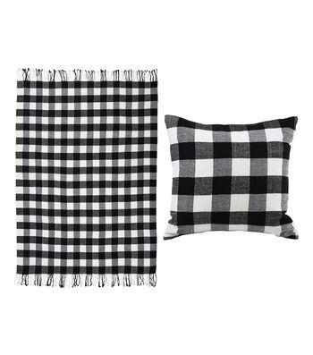 Maker's Holiday Christmas Buffalo Check Pillow & Throw-Black & White