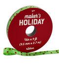 Maker\u0027s Holiday Christmas Ribbon 3/8\u0027\u0027x9\u0027-Red & Silver Pin Dots on Lime