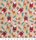 Holiday Cotton Fabric -Santas And Deers Tossed