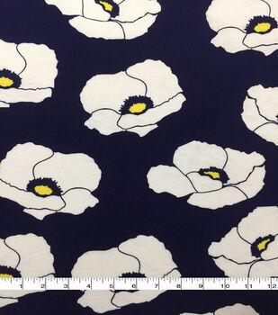 b36ce54be82c Knit Prints Rayon Spandex Fabric-Navy White Yellow Big Poppies