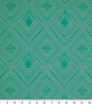 Wide Flannel Fabric-Ice Green Modern Diamond