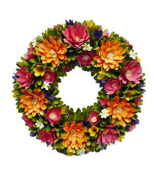 Fresh Picked Spring 18'' Wood Chip Flower Wreath-Multi