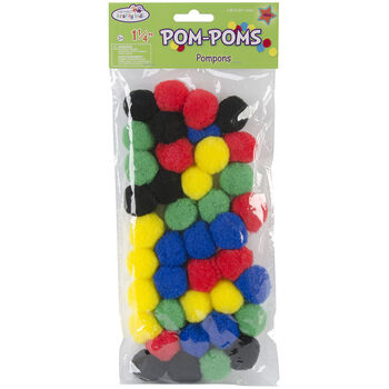 Multicraft Imports Pom Poms Assorted Primary