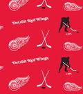 Detroit Red Wings Fleece Fabric 60\u0022-Tossed