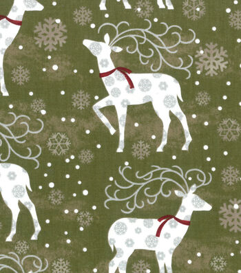 """Maker's Holiday Cotton Fabric 43""""-Deer and Flakes"""
