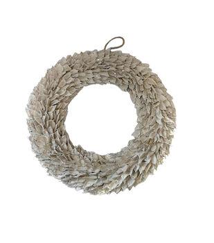 Handmade Holiday Christmas 17.72'' Glisten Pod Wreath-White