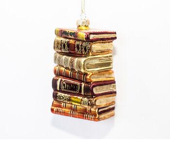 Handmade Holiday Christmas Stacked Books Ornament