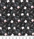 Premium Prints Cotton Fabric-Tossed Cats & Glasses