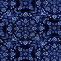 Luxe Flannel Fabric -Denim Medallion