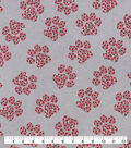 Snuggle Flannel Fabric-Red Gray Paw Cluster