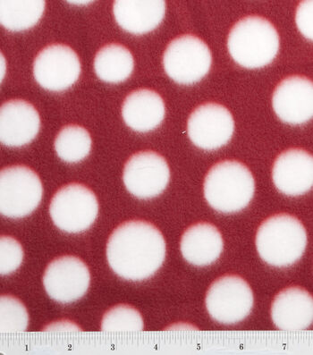 "Blizzard Fleece Fabric 59""-Red and White Dot"