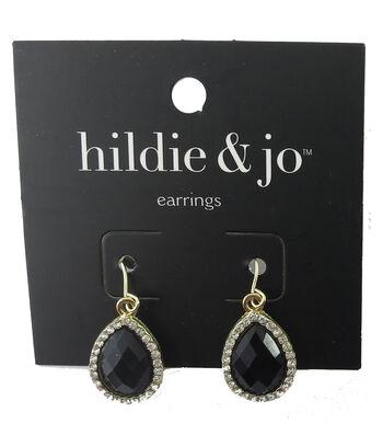 hildie & jo Gold Earrings-Black Teardrop Stone with Clear Crystal