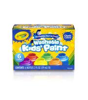 Crayola Washable Kids Paint 2oz 6/Pkg-Classic, , hi-res