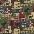 Novelty Cotton Fabric-Colorful Lodge Patch