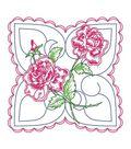 Stamped Quilt Cotton Block Fabric-18\u0022 X 18\u0022 Rose Background Design