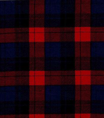 Snuggle Flannel Fabric -Skylar Red & Navy Plaid