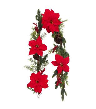 Handmade Holiday 66'' Pine, Pinecone, Red Poinsettia & Berry Garland