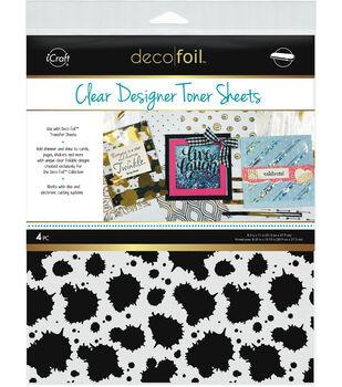 Deco Foil 4 pk 8.5''x11'' Clear Designer Toner Sheets-Splatter