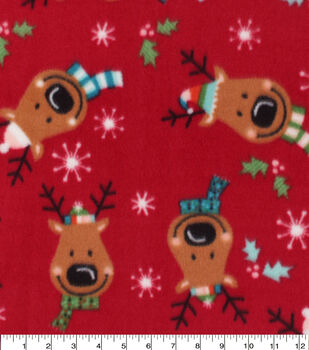 Christmas Anti-Pill Plush Fleece Fabric-Holiday Reindeer Faces