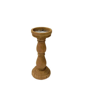Simply Autumn Small Wood Candle Holder-Orange