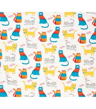 Super Snuggle Flannel Fabric-Colorful Happy Cats