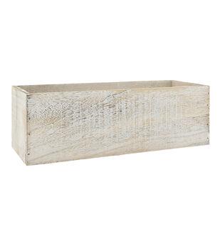 Rectangle Wood Planter 12''-White