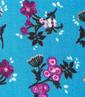 Silky Stretch Textured Fabric-Scattered Floral on Turquoise