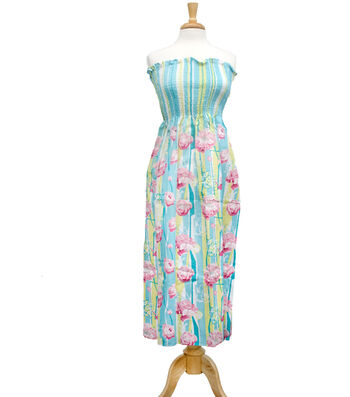 "Style In An Instant 45"" Shirred Dress Fresh Floral Pink"