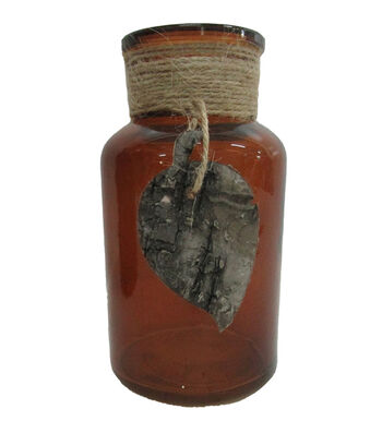 Blooming Autumn Glass Bottle with Birch Leaf Decor-Amber