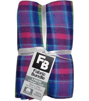 Fat Quarter Bundle Cotton Fabric 18''-Pink Plaid