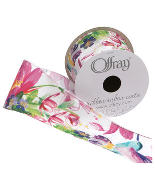"""Offray 2.25""""x9'  Blooms Floral Taffeta Wired Edge Ribbon-Shocking Pink"""