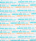 Nursery Cotton Fabric 43\u0022-Navy Dream Big Words