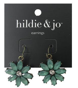 hildie & jo 1''x1'' Flower Antique Gold Earrings-Green Stones
