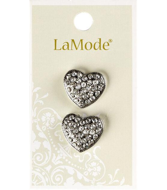 La Mode 2 pk 0.63'' Rhinestone Heart Buttons, , hi-res, image 1
