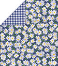 Double Faced Quilt Fabric-Blue Check Daisy