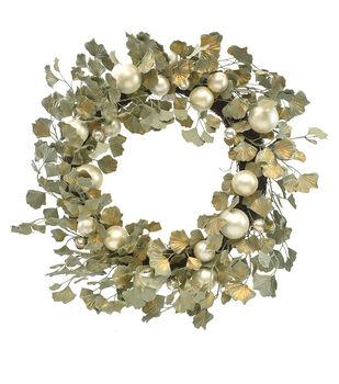 Handmade Holiday Christmas Ornament & Ginkgo Wreath-Gold
