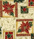 Holiday Cotton Fabric -Metallic Poinsettia