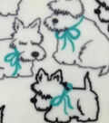 Super Fleece Fabric -Pups with Bows