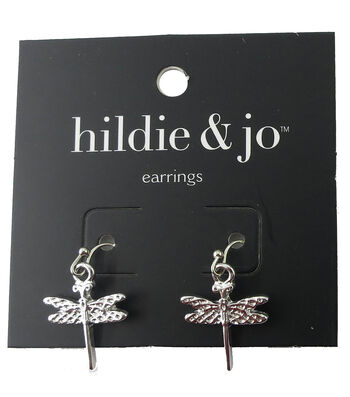hildie & jo 0.75''x0.63'' Dragonfly Silver Earrings