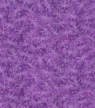 Keepsake Calico Cotton Fabric-Sundrenched Dragonflies on Purple