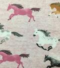 Doodles Cotton Spandex Interlock Knit Fabric-Pink Heather Horses