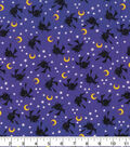 Halloween Cotton Fabric 43\u0022-Flying Witches Glitter