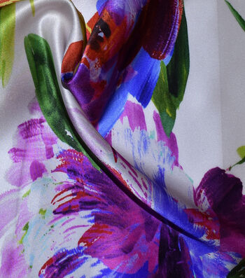 "Gianna 100% Silk Charmeuse Print Fabric 43""-Watercolor Rose"