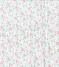 Wide Flannel Fabric -Coral & Mint Ditsy