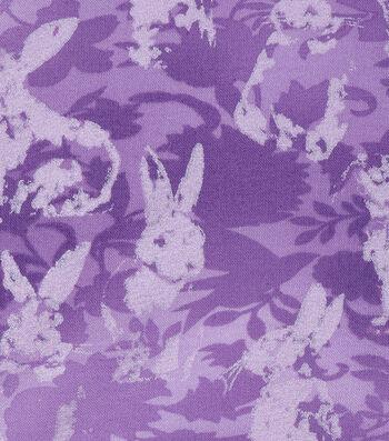 Easter Cotton Fabric -Tonal Bunnies Purple Pearlized