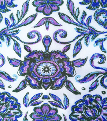 Stretch Chiffon Fabric 57''-Blue & Purple Folk