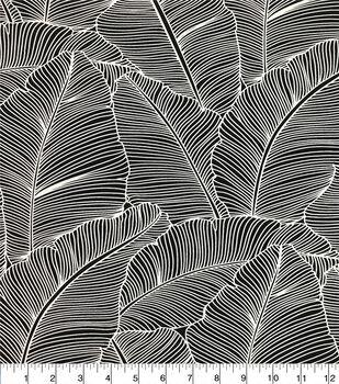 Stretch Chiffon Silky Fabric-Black & White Leaf