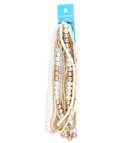 hildie & jo Glass Multi Strand Seed Strung Beads-Beige, , hi-res