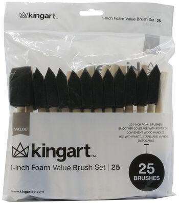 """KINGART 1"""" Foam Brush Value Pack 25/Pkg"""