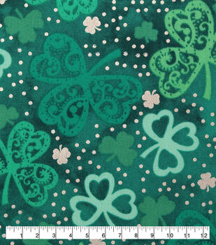 St. Patrick's Day Cotton Fabric-Paisley Clovers with Foil